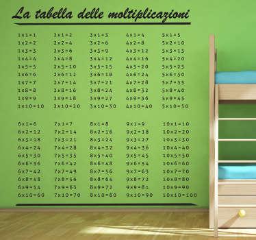 Decora la camera dei tuoi bambini con questo pratico sticker che potranno usare aiutarsi facendo i compiti di matematica.