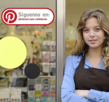 Adhesivo decorativo con el que señalar a tus clientes que te sigan en redes sociales. Indícanos el texto que quieres que aparezca en el vinilo en el campo de observaciones de la pasarela de compra.