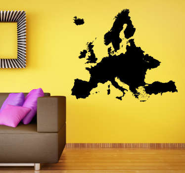 WallSticker silhouette illustration of Europe. This sticker is a silhouette image of Europe, the most unified and progressive continent on the planet.