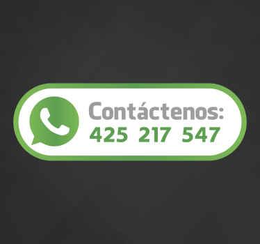 Adhesivo decorativo con el que señalar a tus clientes como contactar con tu negocio y proporcionar un servicio de proximidad y calidad.