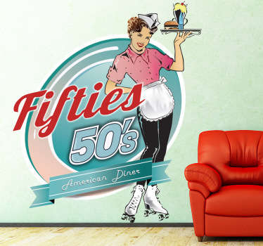 Decorative sticker of a typical waitress from the 50s. This vintage decal from our retro wall stickers set is perfect for lovers of this style.