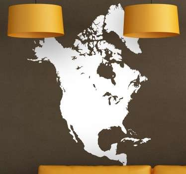 North America Map Silhouette Wall Sticker