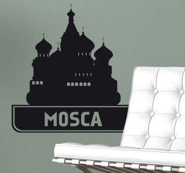 Adesivo murale che raffigura un'icona della cattedrale di San Basilio simbolo della capitale russa.