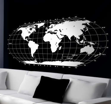 Monokrom världskarta vägg klistermärke