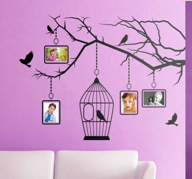 Wall Stickers - Bird tree illustration with frames for your favourite photos.