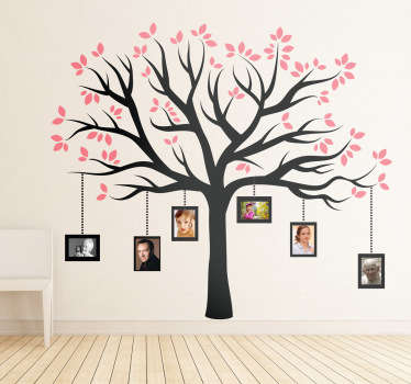 An elegant design illustrating a family tree with pink leaves. A magnificent decal from our collection of family wall art stickers.