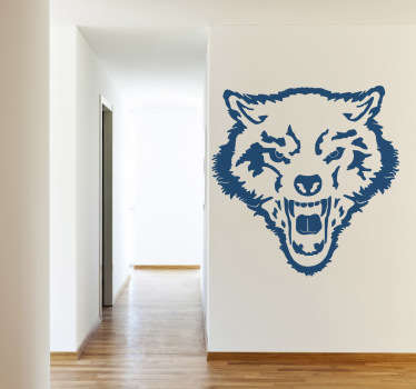Decals - Outline illustration of a fierce wild wolf. Available in various sizes and in 50 colours. Stickers made from high quality vinyl.