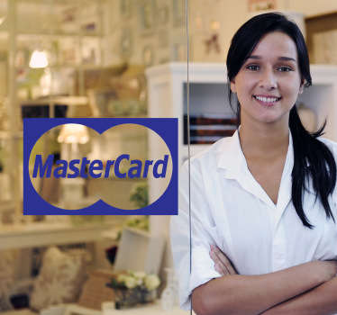 This decorative decal shows the logo of MasterCard in a very attractive design. Let your future clients know that you also accept MasterCards.