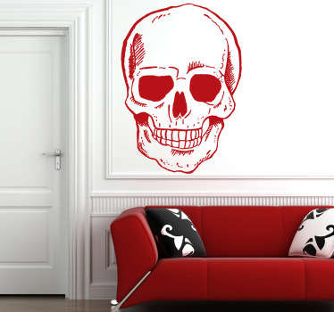 This wall sticker is an original model of a skull with a broad smile.
