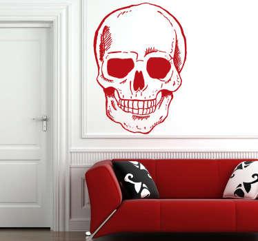 Muursticker glimlachende schedel