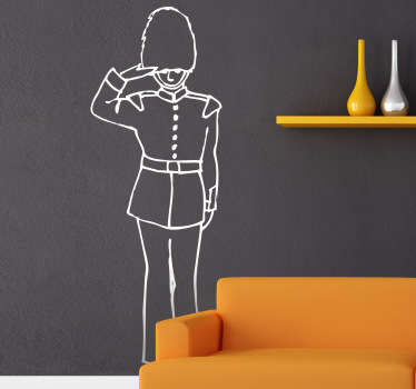 An outline design of one of the Queen's guards saluting and wearing the traditional uniform, from our collection of UK themed wall stickers. Fun image of one of the royal guards who watches over Buckingham palace in London to decorate your home or business in an alternative and creative way.