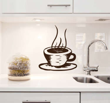 Illustration of a hot cup of coffee. A brilliant coffee wall art sticker to decorate your kitchen, cafe or restaurant! This original monochrome coffee decal is available in various sizes and in 50 different colours.