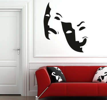 Creative decal of two theatre masks that area very common symbol related to the theatre industry.