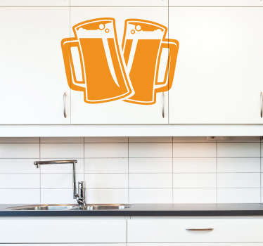 Beer wall sticker - Two pint glasses filled with ice cold beer topped with creamy bubbly foam heads. Perfect drink sticker to decorate a kitchen, bar or man cave with.