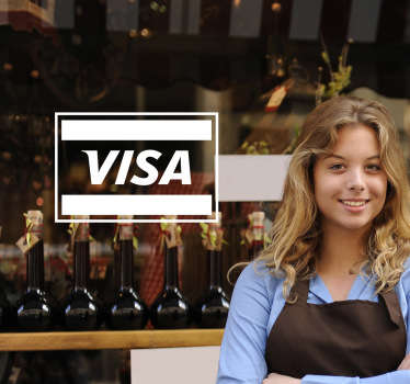 This decorative decal shows the logo of Visa in silhouette. A fantastic way to decorate your shop or business.