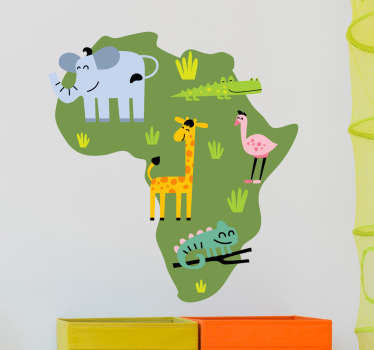 Wall Stickers - Original design of the African continent marking the regions of various animal species in Africa.