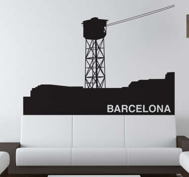 Murales y vinilos inspirados en Barcelona en este caso el famoso teleférico que parte del puerto hasta Montjuïc.