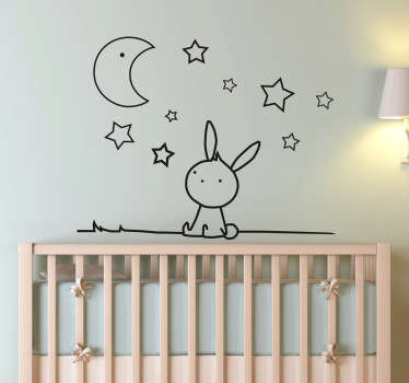 Lovely monochrome kids wall sticker of a bunny looking up at the stars and moon in the sky, perfect for decorating the nursery, child's bedroom or play area to create a calming and friendly atmosphere.
