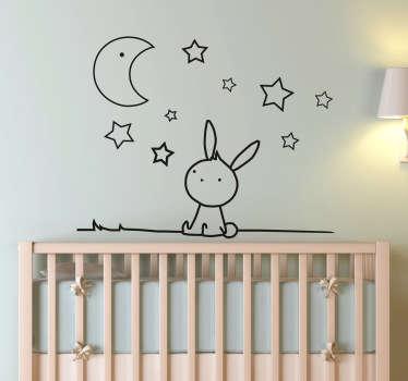 ウサギの月と星の壁のステッカー