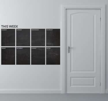 Den här veckan planerar svart tavla klistermärke
