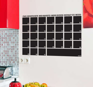 The monthly planner chalkboard sticker is a fantastic design to plan the month with. The blackboard wall sticker is a superb idea for those that love to be organised.