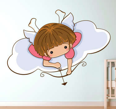 Decorative angel wall art decal of a little angel with its wings ready to shoot an arrow. A fantastic decoration for a girl's bedroom.