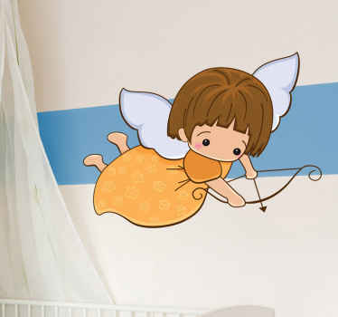 A decorative angel wall art decal of a friendly angel with a harmless longbow. Brilliant sticker to decorate your child's room.
