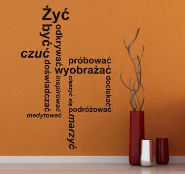 Oryginalna naklejka na ścianę przedstawiająca tekst nawiązujący do przemyśleń, refleksji. Stwórz swój wymarzony projekt!