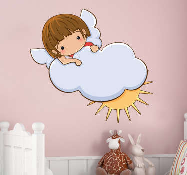A decorative angel wall art sticker of a little angel on a cloud. Brilliant decal to decorate your child's room.