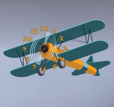 Kids Airplane Wall Clock Sticker