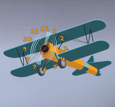 Sticker klok kinderen vliegtuig