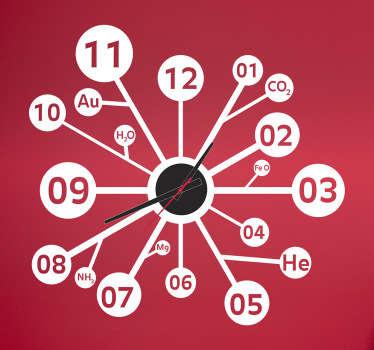 Vinilo reloj ciencia elementos