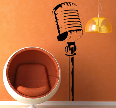 Music Wall Stickers - Outline illustration of a classical microphone. Ideal for music lovers and musicians.  Distinctive feature to decorate the home or business with a retro vibe. Available in various sizes and 50 colours. Easy to apply made from high quality vinyl.