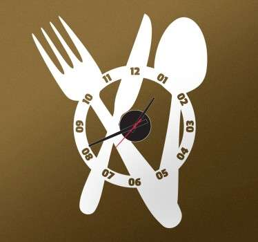 Large Cutlery Clock Sticker