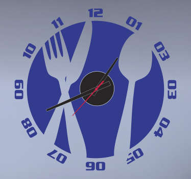 Kitchen Cutlery Wall Clock Sticker