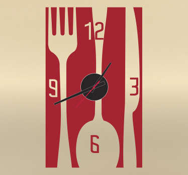 Sticker relógio utensílios cozinha
