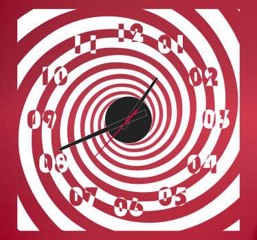 Sticker horloge effet d'optique spirale