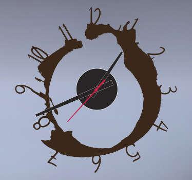 Vinil parede de um relógio com manchas