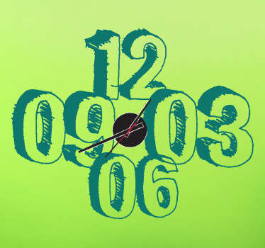 Sticker horloge numéros dessinés