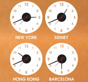 Decorative wall clock sticker with different country names. It is available in various size options and it application is easy.