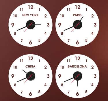 Originali orologi adesivi personalizzati. Decorazione sticker che ti permetterà di conoscere l'orario di paesi e città che preferisci.