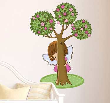 A shy little angel hiding behind a tree. This angel wall art sticker is perfect to decorate the bedroom of the little ones at home.