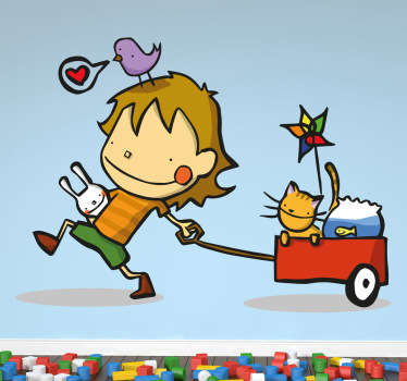 Decorative sticker of a happy child pulling along a little red cart filled with his pet at and goldfish.