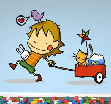 Wandtattoo Junge mit Wagen