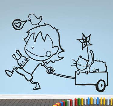 Autocolante decorativo menino e as suas mascote