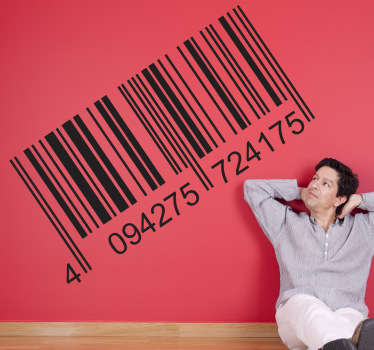 Barcode wall stickers - A decorative sticker of a bar code with numbers below. Perfect for as a business or office wall sticker.