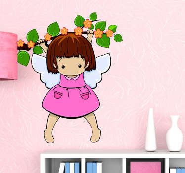 A superb angel wall art sticker illustrating this little angel hanging from a branch. This angel decal is ideal for a girl's bedroom or playroom.