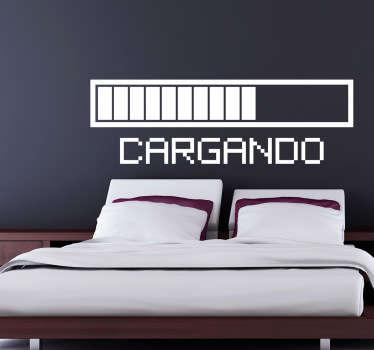 """Personaliza tu dormitorio con este vinilo decorativo formado por esta barra que contiene la palabra """"Cargando""""."""