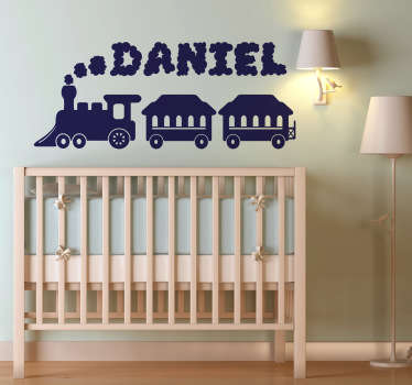 Kids Wall Stickers - Ideal for customising the nursery and kids' bedrooms. Personalised monochrome design of a toy train.