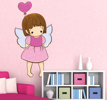 A decorative angel wall art decal of a little shy angel holding a heart shaped balloon. Brilliant sticker to decorate your child's room.